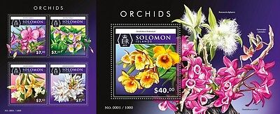 Z08 Imperforated SLM15504ab SOLOMON ISLANDS 2015 Orchids MNH Postfrisch Set