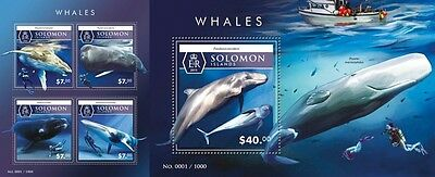 Z08 Imperforated SLM15505ab SOLOMON ISLANDS 2015 Whales MNH Postfrisch Set