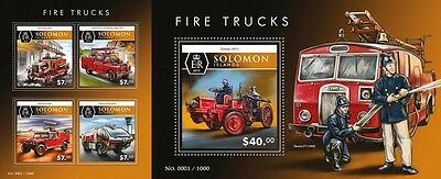 Z08 Imperforated SLM15510ab SOLOMON ISLANDS 2015 Fire trucks MNH Postfrisch Set