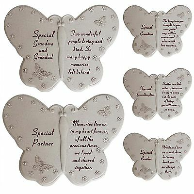 New Memorial Diamante Butterfly Book Remembrance Grave Stone Sentimental Plaques