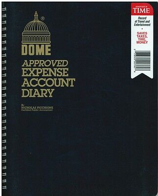 "Dome Expense Account Diary Book - 760 - 8"" x 10"" - BLACK Cover"