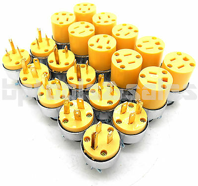 20Pcs Male & Female Extension Cord Replacement Electrical Plugs 15AMP 125V End