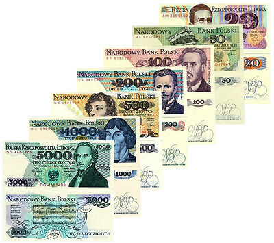 Poland 7 Note Set 20 50 100 200 500 1000 5000 Zlotych Unc