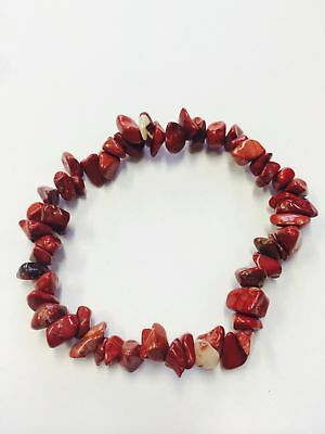 Red Jasper Gemstone Crystal Bracelet Chip Beads Stretch Meditation Healing
