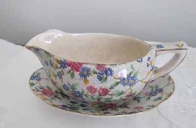 Vintage Royal Winton OLD COTTAGE CHINTZ Gravy Boat & Saucer/Underplate