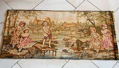 """Vintage French CHATEAU ELEGANT Tapestry Wall Hanging : marks FRANCE 41"""" Long"""