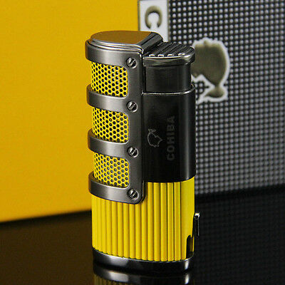 COHIBA Yellow Gridding Stripes 3 Torch Flame Cigarette Cigar Lighter W/Punch