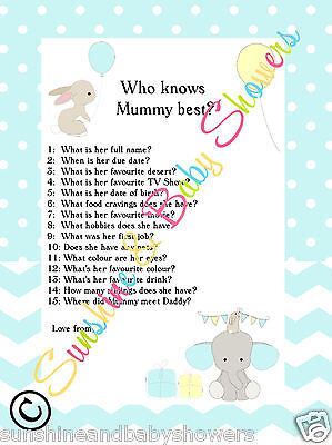 Baby Shower Game Who Knows Mummy Best  Elephant & Bunny BLUE 20 Sheets Players