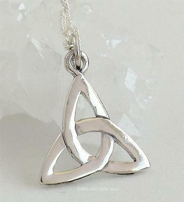 Celtic Triquetra Trinity Knot Pendant Necklace 925 Sterling Silver Jewellery NEW