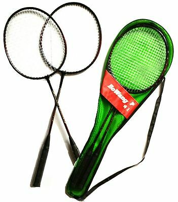 2 x Quality Full Size Badminton Racket With Carry Case Set 2 Player Sport Games