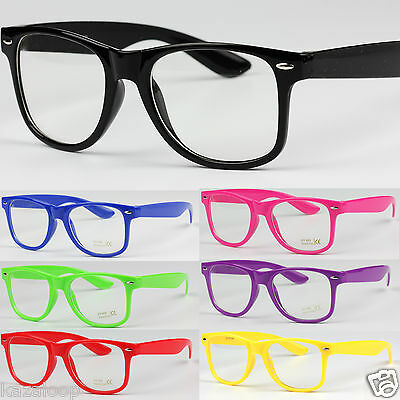 Mens Womens Square  Clear UV400 Lens Glasses Vintage Geek Nerd Fashion