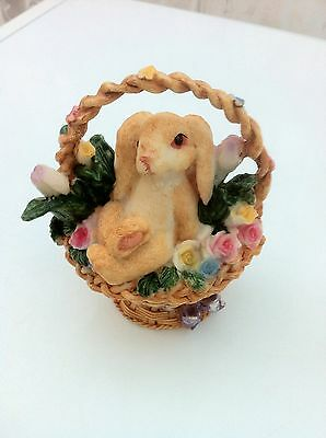 2 Easter Bunny Ornaments Beautiful Rabbit In A Basket Filled With Flowers Resin