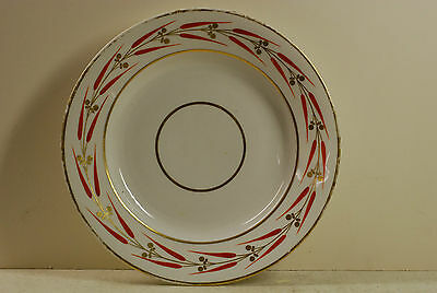 "Large Derby dinner plate, 10"" , red crown mark, ex condition, late 18th century"