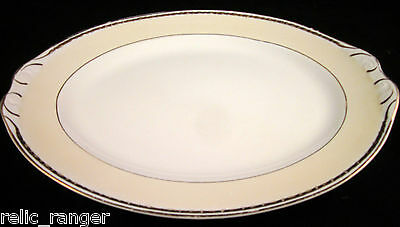 "Homer Laughlin Eggshell Georgian K40N5 11.5"" Oval Serving Tray Gold Trim VICEROY"