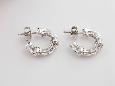 Tiffany & Co Sterling Silver Nature Bamboo Hoops Earrings