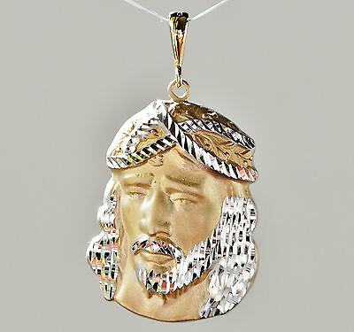 Jesus Pendant In Yellow & White 9K Gold. Nice Detail With Engraveable Flat Back.