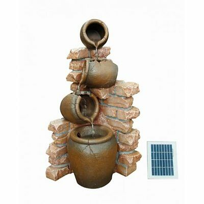 Solar Powered 4 Pots Water Feature with Battery Back Up