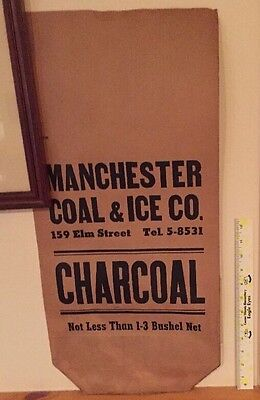 Manchester NH Coal & Ice Charcoal Heavy Paper 1930 Bag Advertising New Hampshire