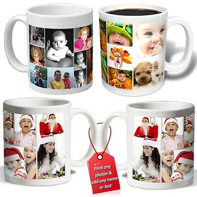 COLLAGE PERSONALISED PHOTO MUG cup ADD NAME love christmas gift valentines tea