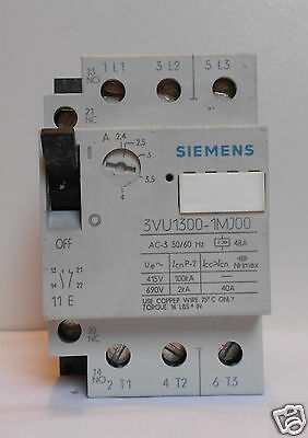 Siemens Motor Protector / Circuit Breaker 2.4 - 4A Part No. 3Vu1300-1Mj00