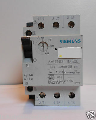 Siemens Motor Protector, Circuit Breaker  0.1 - 0.16 A Part No. 3Vu1300-1Mb00