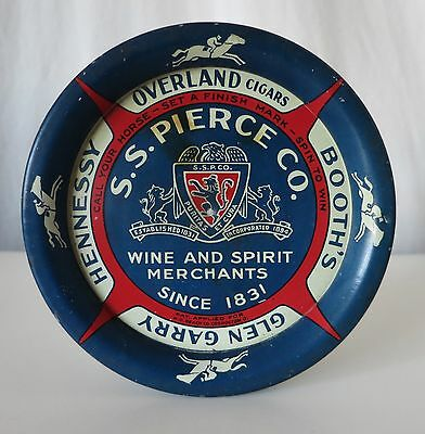 S.s. Pierce Wine/overland Cigars Vintage Spinning Tip Tray With Race Horse Game