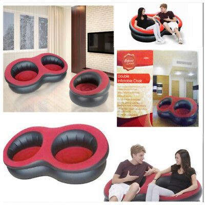 Double Inflatable Chair Sofa Red - Black Comfortable Home Decor Furniture DIY
