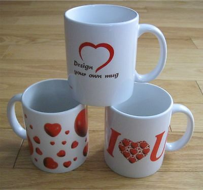 Valentine's Day White Mug with 3D Red Hearts, you can design your own gift