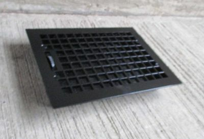 "Antique all Cast Iron Floor Grate,w/louvers - Refinished- Black-[16"" x 12""] (#7)"