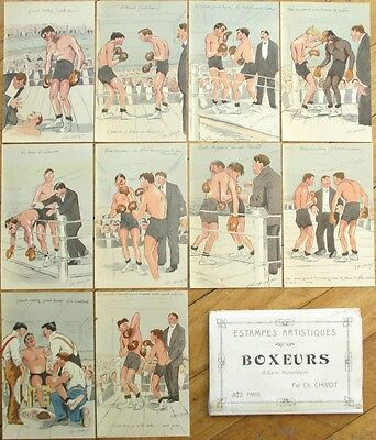 Boxing/Boxers: Set of Ten French Chivot/Artist-Signed Postcards, c. 1910