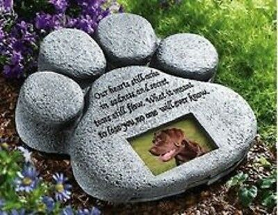 Pet Stone Memorial Cat Marker Grave Dog Headstone Paw Garden