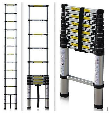 3.2M Extendable 11 Step Telescopic Ladder Multi Purpose Extension Aluminium D210