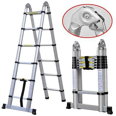 3.8m Telescopic Extendable Multipurpose Aluminium Ladder with Stabilizer DLT706