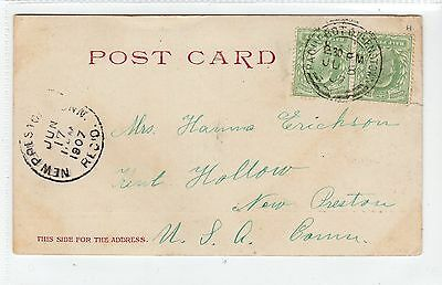 Picture postcard to USA with PAQUEBOT QUEENSTOWN Ireland postmark (C14581)