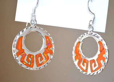 MEXICAN EARRINGS Sterling Silver Plated Resin Orange Colour Round Style Taxco