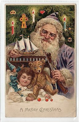 """A MERRY CHRISTMAS"": Santa Claus hold to light postcard (C14711)"