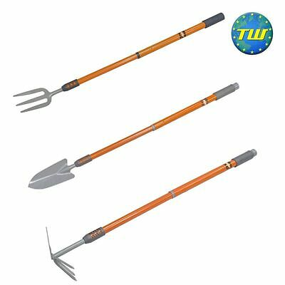 3pc Telescopic Gardening Set - Extendable Hand Trowel, Fork & Hoe Digging Tools