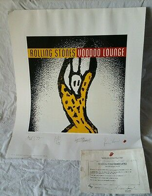 Rolling Stones Signed Lithograph 1994 Voodoo Lounge w/ Guest TourTicket & COA
