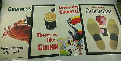 NOS Complete Classic Guinness Beer (4) PC Poster Promo Advertising Set Lot New B
