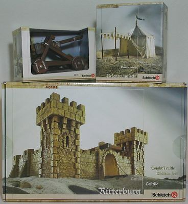 New Schleich Medieval Lot #40191 #40192 #40193 Knight Castle Siege Tent Catapult