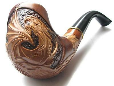 """HAND CARVED Handmade Fashion Tobacco SMOKING PIPE PEAR """" Dragon """" Made by Artist"""