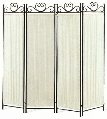 Black & Gold Metal Four Panel Folding Room Divider Screen by Coaster 2710