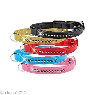 Small Dog Cat Faux Leather Sequined Collar 5 Colours 2 Sizes