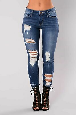 New Womens Ladies Celeb Stretch Ripped Skinny High Waist Denim Pants Jeans 6-16