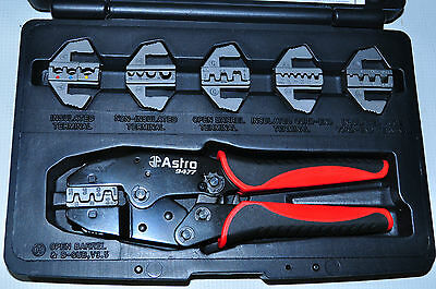 Ratcheting Terminal Crimper Set with 6 Pair Quick Interchangeable Jaws  Ast 9477