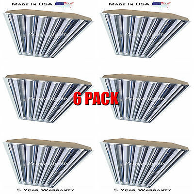 QTY(6) 6 Bulb / Lamp T8 LED High Bay Warehouse, Shop, Commercial Light Fixture