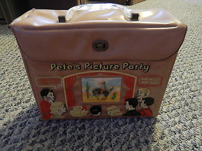 Rare Vintage Petes Picture Party Vinyl Lunchbox 1960's? Rare Obo