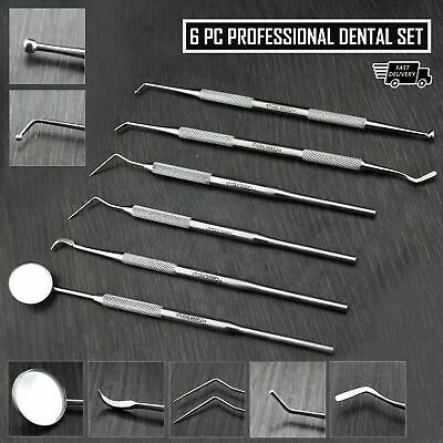 Dental Scaler Pick Tools with Inspection Mirror and Tweezer 6 Pieces Set