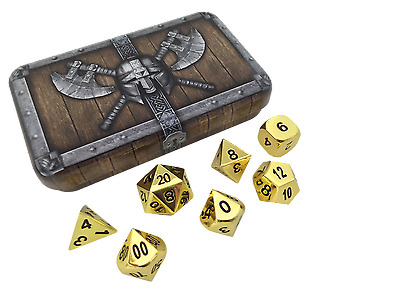 Gold Color- Solid Metal Polyhedral Role Playing Game (RPG) Dice Set