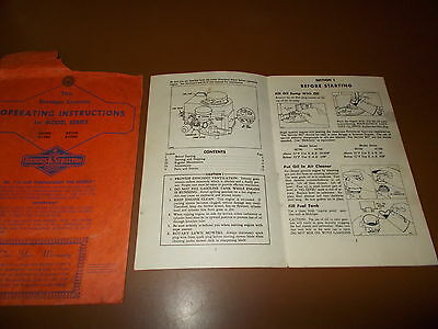 Vintage Briggs & Stratton Mower Operating Instructions Book & Envelope.